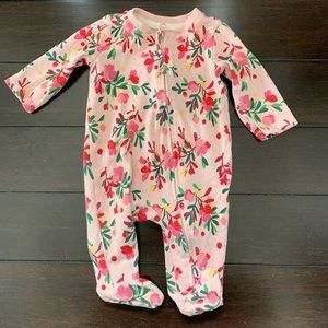 Gymboree floral zip up footie onesie